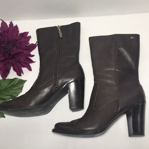 TOMMY HILFIGER Brown Leather Mid High Heel Boots 7